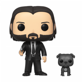 Figura FUNKO POP! Vinyl John Wick: John (Black Suit) w/ Dog